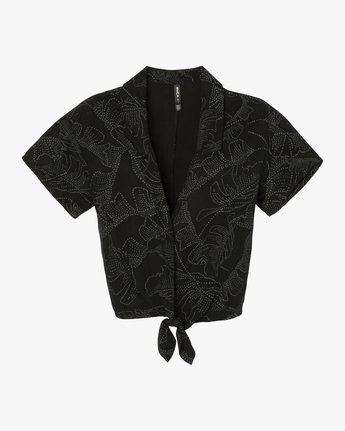 6 Gridlock Printed Button Top Black W502SRGR RVCA