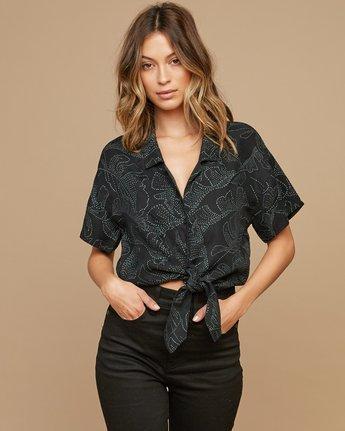 0 Gridlock Printed Button Top Black W502SRGR RVCA