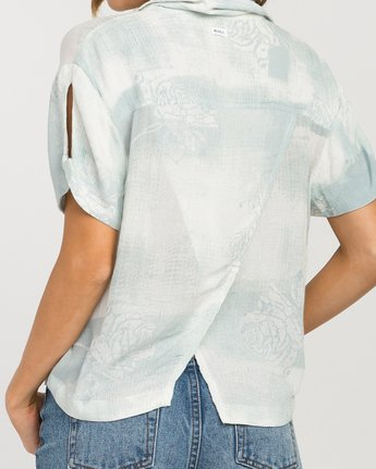 3 Oblow Skytown Floral Button-Up Top Blue W508PRSK RVCA