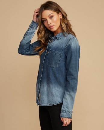 2 Unearthed Washed Denim Shirt Blue W508QRUN RVCA