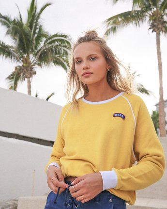 0 Hangtown Fleece Sweatshirt Yellow W601TRHF RVCA