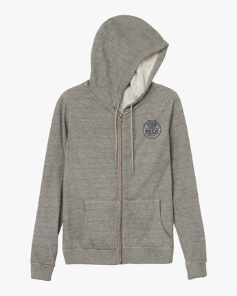5 Mascot Zip Up Hoodie Grey W616SRMA RVCA