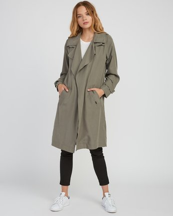 0 Mac Draped Trench Coat Green W701SRMA RVCA