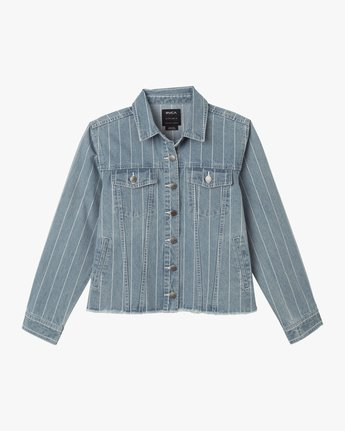 6 Pause It Striped Denim Jacket Blue W702TRPA RVCA