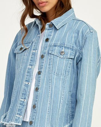 4 Pause It Striped Denim Jacket Blue W702TRPA RVCA
