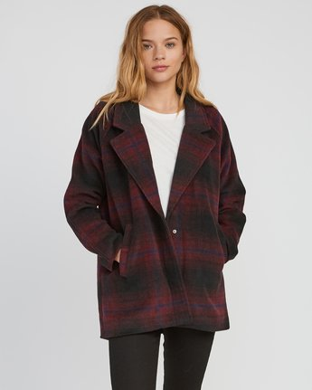 1 Camden Oversized Plaid Jacket Pink W705SRCA RVCA