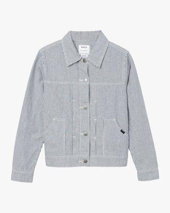 5 Garn Striped Denim Jacket Silver W706QRGA RVCA