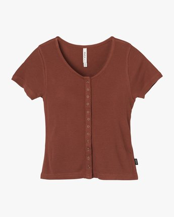 5 Nation Ribbed Crop Top Brown W904QRNA RVCA