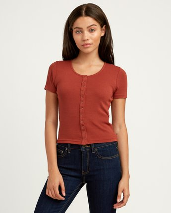0 Nation Ribbed Crop Top Brown W904QRNA RVCA
