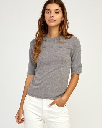 0 Stitched Knit T-Shirt Grey W905TRST RVCA
