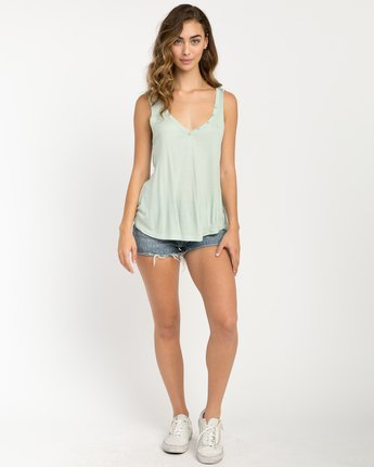 4 Zelda Ribbed Tank Top Green W907PRZE RVCA