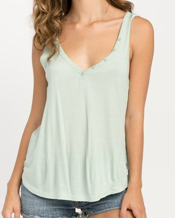 3 Zelda Ribbed Tank Top Green W907PRZE RVCA