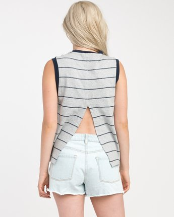 2 Watch Me Striped Muscle Tank Top Grey W908NRWA RVCA