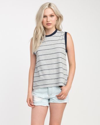 0 Watch Me Striped Muscle Tank Top Grey W908NRWA RVCA