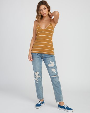 4 Tazed Striped Knit Tank Top Yellow W911SRTA RVCA