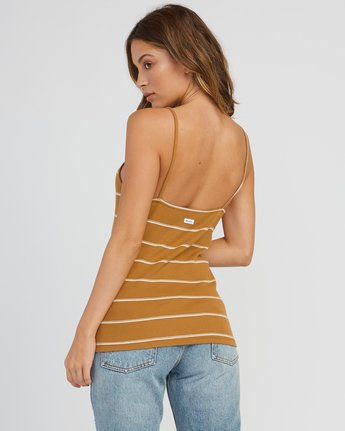 3 Tazed Striped Knit Tank Top Yellow W911SRTA RVCA