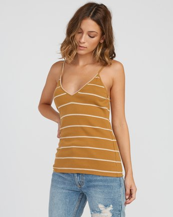 1 Tazed Striped Knit Tank Top Yellow W911SRTA RVCA