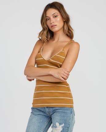 2 Tazed Striped Knit Tank Top Yellow W911SRTA RVCA
