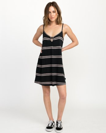 4 Downer Striped Dress Black WD03QRDO RVCA