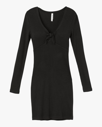 5 Knot Up Fitted Long Sleeve Dress Black WD04SRKN RVCA