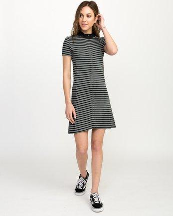 5 Shaw Striped Mock Neck Dress Black WD07QRSH RVCA