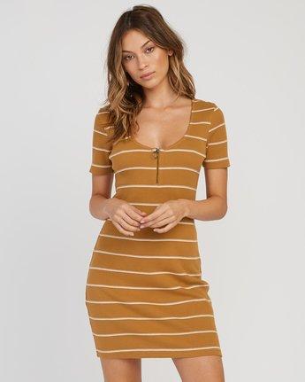 0 Donner Striped Knit Dress Yellow WD08SRDO RVCA