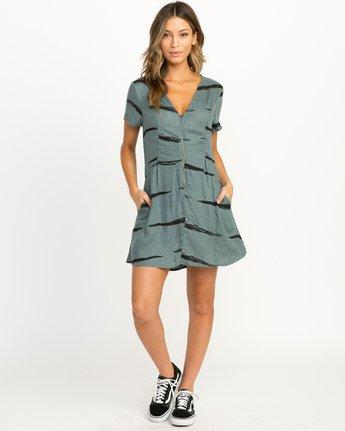 3 Dawning Printed Zip Dress Green WD10QRDA RVCA