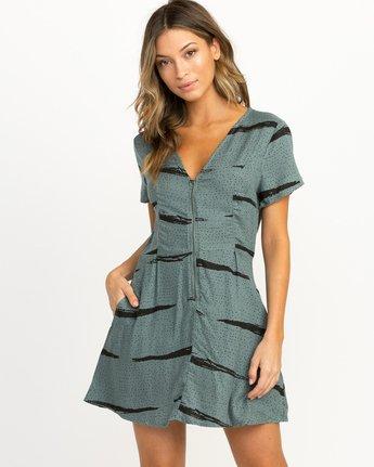 0 Dawning Printed Zip Dress Green WD10QRDA RVCA