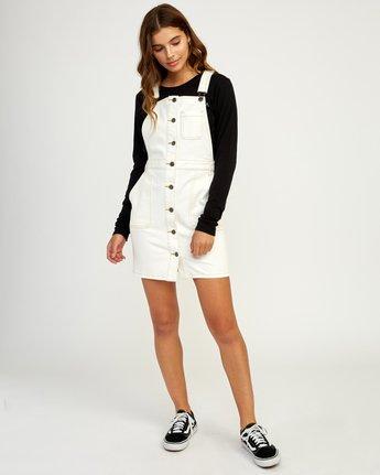 5 Conquer Denim Overall Dress White WD11TRCO RVCA