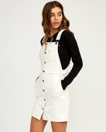1 Conquer Denim Overall Dress White WD11TRCO RVCA