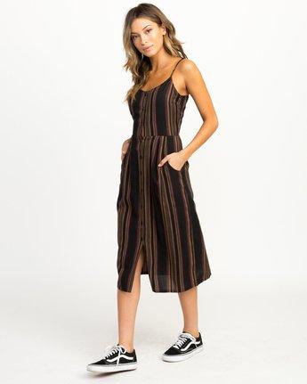 2 Medway Striped Midi Dress Black WD13QRME RVCA