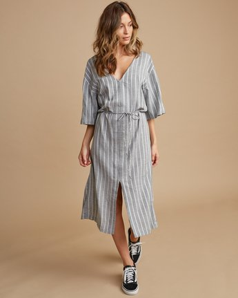 1 Sas Striped Midi Dress Silver WD13SRSA RVCA