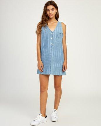 5 Trail It Striped Denim Dress Blue WD18TRTI RVCA