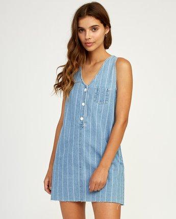 0 Trail It Striped Denim Dress Blue WD18TRTI RVCA