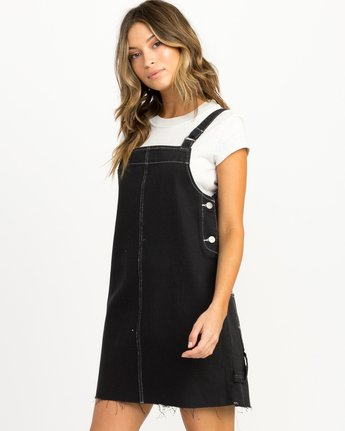 1 Neo Pinny Denim Overall Dress Black WD20QRNE RVCA