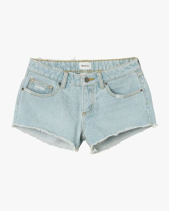 7 Hello Mellow Denim Cutoff Shorts White WF206HEL RVCA