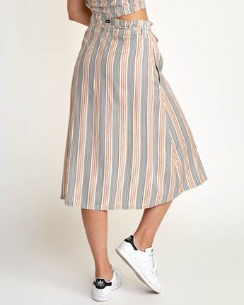 2 Oslo Striped Midi Skirt Beige WK01TROS RVCA