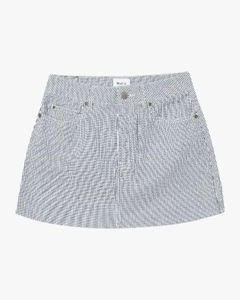 7 Hunn Striped Denim Mini Skirt Silver WK04QRHU RVCA