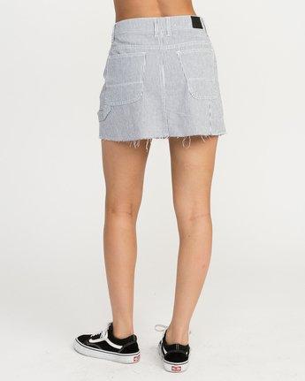 4 Hunn Striped Denim Mini Skirt Silver WK04QRHU RVCA