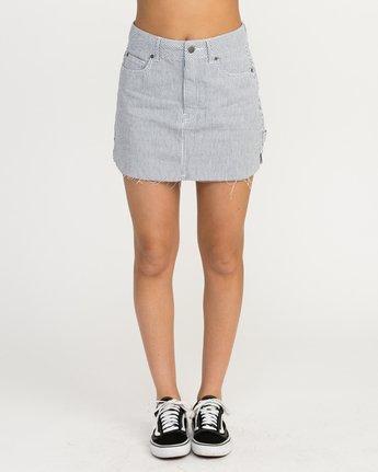 1 Hunn Striped Denim Mini Skirt Silver WK04QRHU RVCA