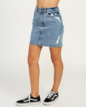 2 Jolt High Waist Denim Skirt Blue WK06QRJO RVCA