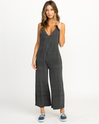 3 Bounce Wide Leg Lounge Jumpsuit Grey WL04QRBO RVCA