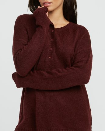 2 Urboyfriends Knit Henley Sweater Pink WL06SRUR RVCA