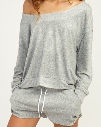 4 Whisper Fleece Pullover Top Grey WL09TRWP RVCA
