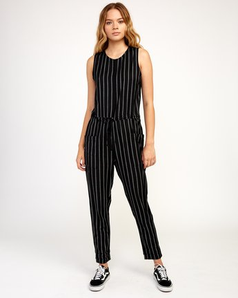 1 Pop Out Striped Jumpsuit Black WN05TRPO RVCA