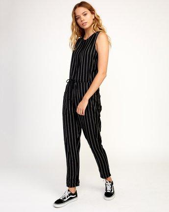 2 Pop Out Striped Jumpsuit Black WN05TRPO RVCA