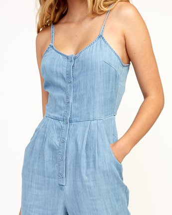 4 Flasher Chambray Jumpsuit Blue WN10TRFC RVCA