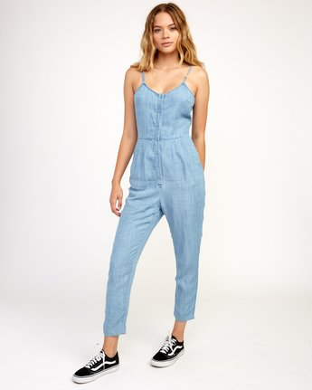 1 Flasher Chambray Jumpsuit Blue WN10TRFC RVCA