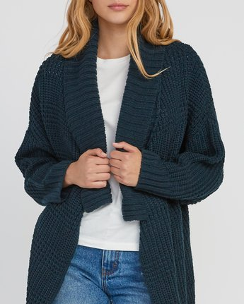 3 This Is It Oversized Knit Cardigan Grey WV04SRTH RVCA