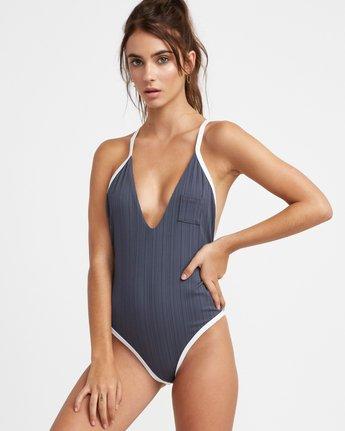 1 Linear Ribbed One Piece Swimsuit Grey X106TRLO RVCA